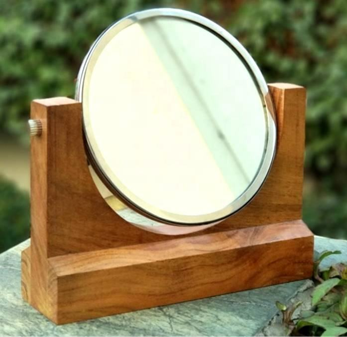 WOODEN DOUBLE SIDE MIRROR(1- 5X / 1- PLAIN MIRROR with shiny and natural wood finish, made in India