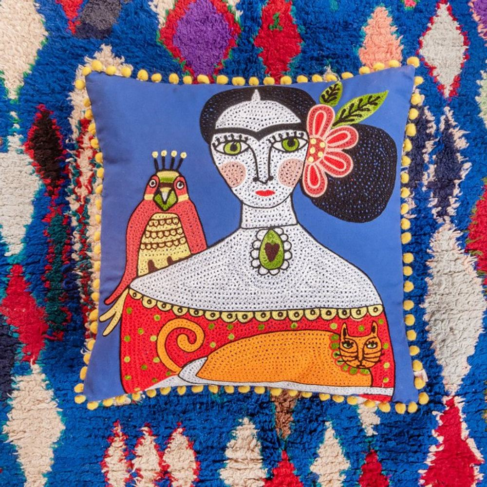 Colorful Folk Style Pillow Cover Western Sham Artist Frida Orange Cat Embroidered Cushion Cover Decorative Wholesale Pillow Case