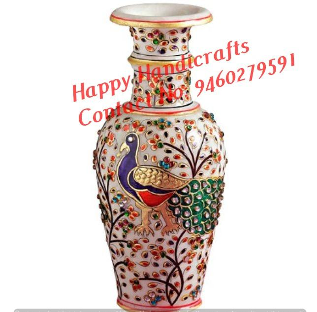 Indian Hand Painted Marble Flower Pot, Indian Exporters Of Marble Flower Pots