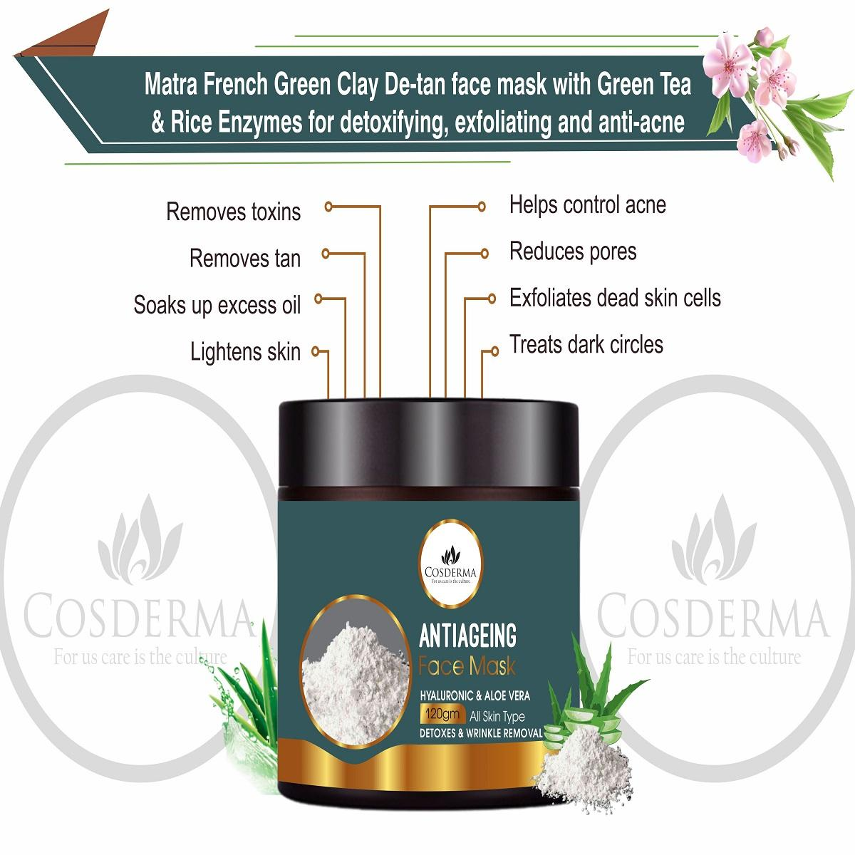 Hyaluronic Acid Face Pack Arginine, Aloe Vera Infused Rich Anti-oxidant Herbal Extracts for skin Tightening & Lifting