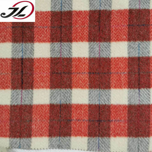 China Manufacturer brushed yarn dyed check tweed fabric for coat