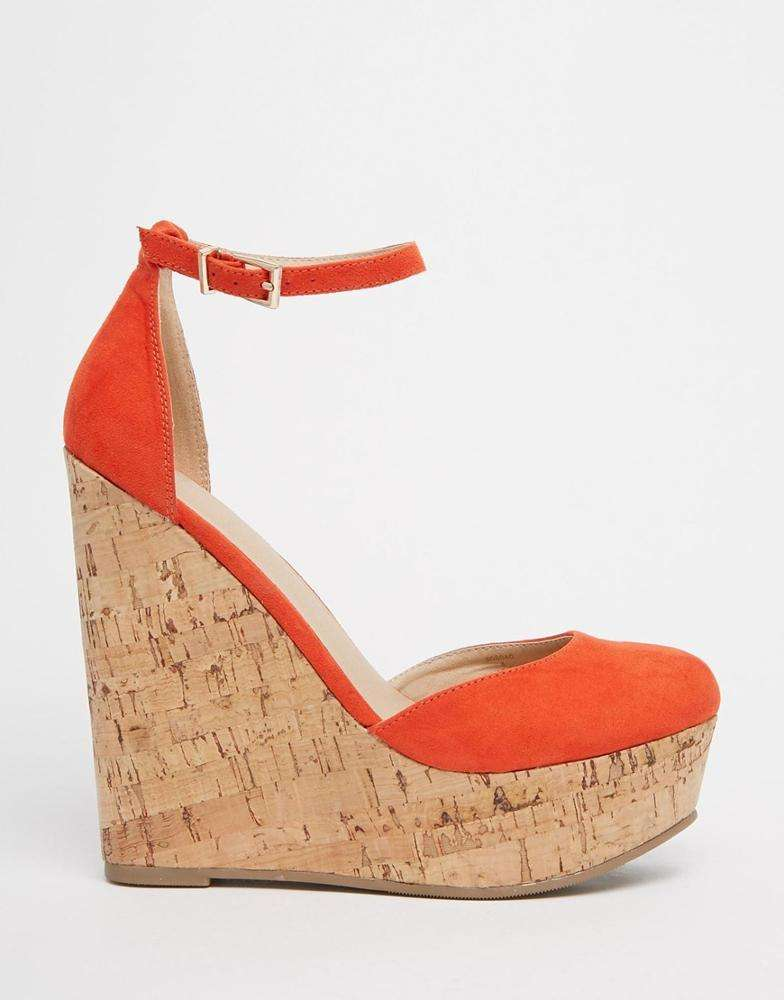 Ladies high wedges heels cork style shoes or round toe shape latest platform design for women