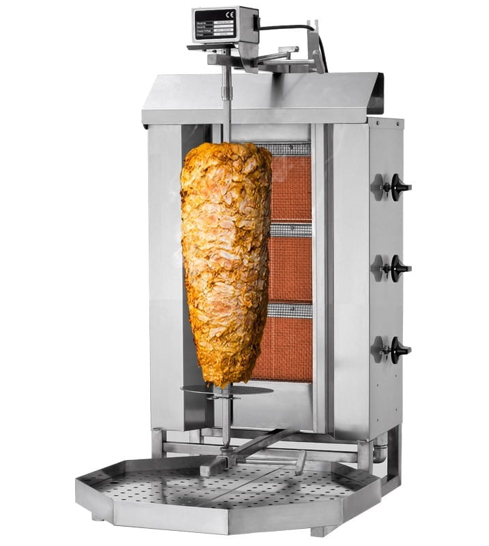 Professional Commercial <span class=keywords><strong>Gas</strong></span> Kebab <span class=keywords><strong>Gyros</strong></span> <span class=keywords><strong>Grill</strong></span> 3 Burners 9.75kW 40kg Turkish für Kitchen / Restaurant / Hotel
