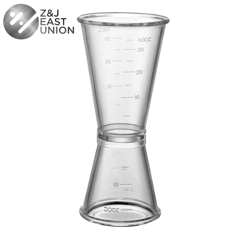 0-20cc ml 0-40cc Cocktail Wine Jigger Double Clear Plastic Shot Glasses Drink Measure Cup for Bar Party Kitchen Tool