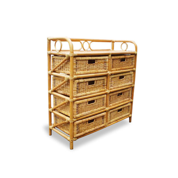 Best Selling Rack Rattan Natural Storage With 8 Drawers