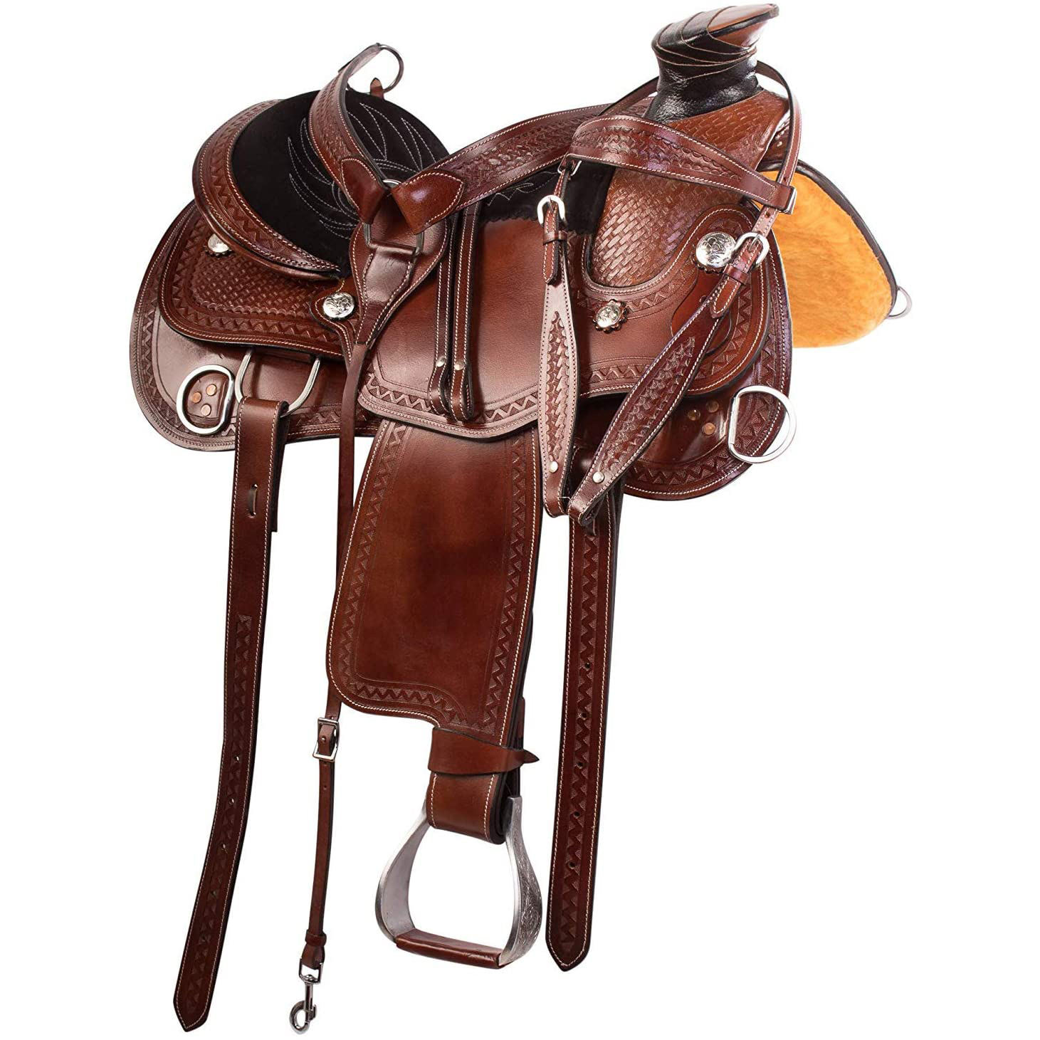Premium Western Leather Roping Ranch Work Custom Horse Saddle Tack By A.H. SADDLERY