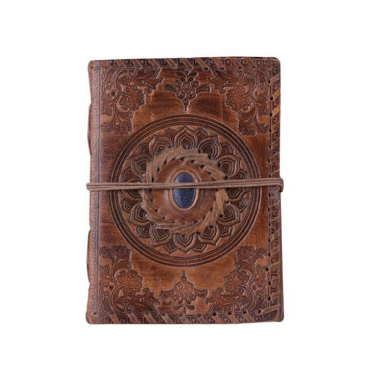 Genuine leather journal notebook diary embossed with stone