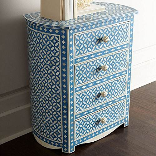 Indian Moroccan Floral Design Bone Inlay Chest of Drawer