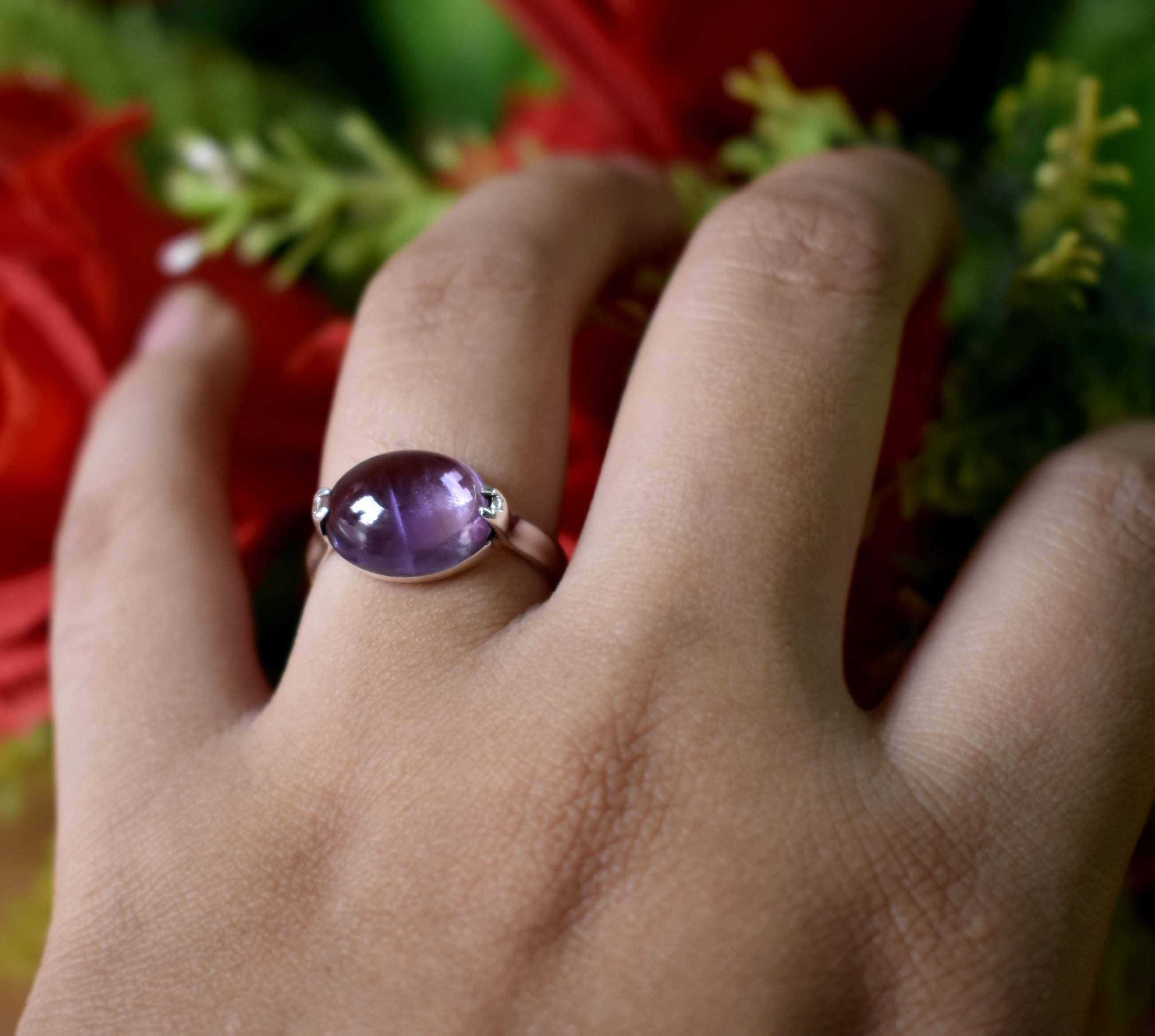 Manufacturer attract silver gemstone anniversary gift womens wholesale cabochon amethyst ring