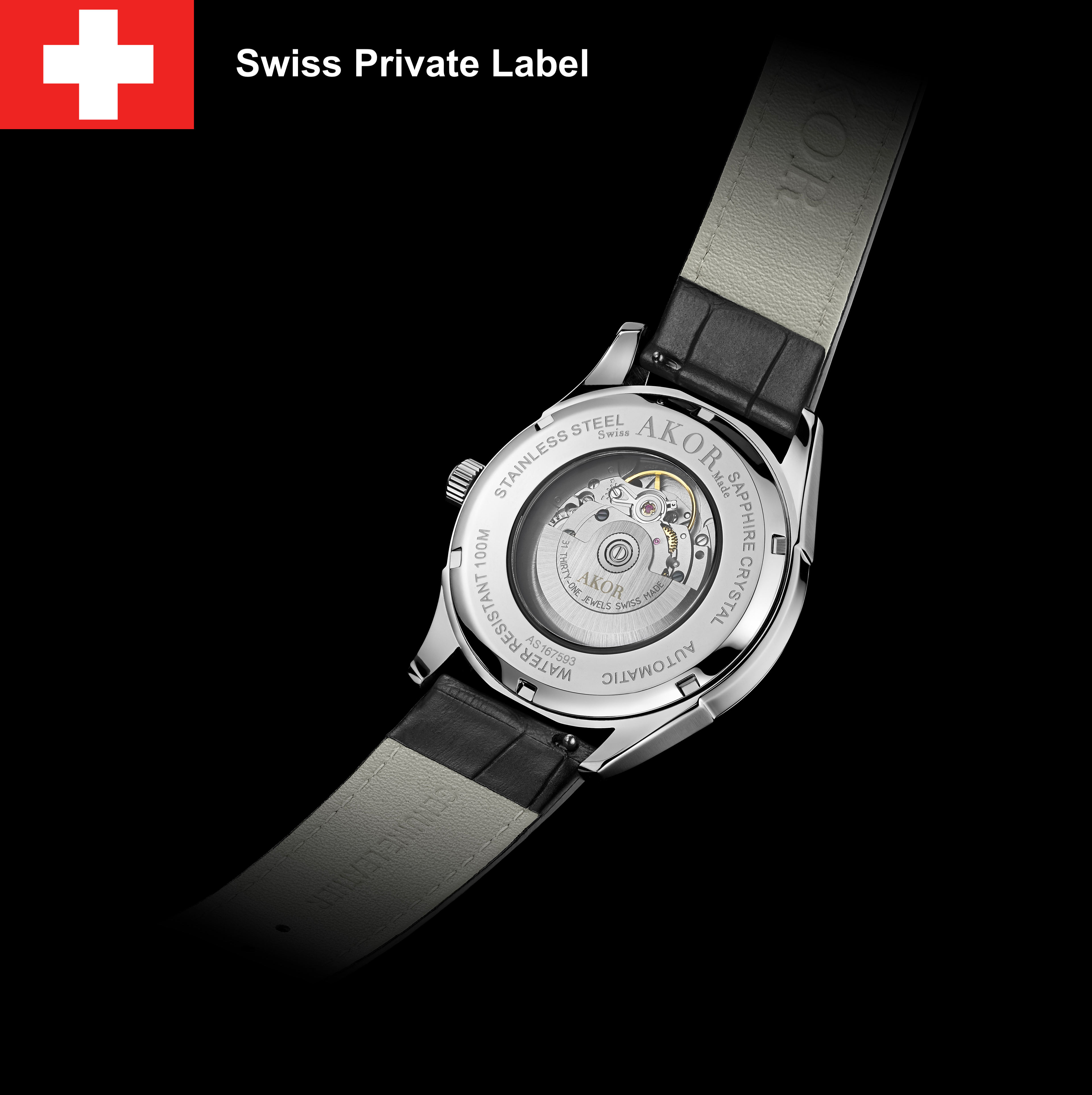 AUTOMATIC SWISS MADE WATCH private label watch Manufacture in Switzerland, QUARTZ SKELETON