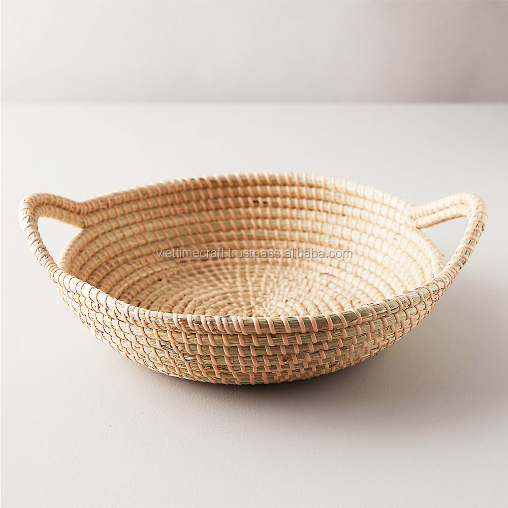 Woven Seagrass Bowl with Handles, Fruit Woolen Bowl, Display Storage Wicker Holder