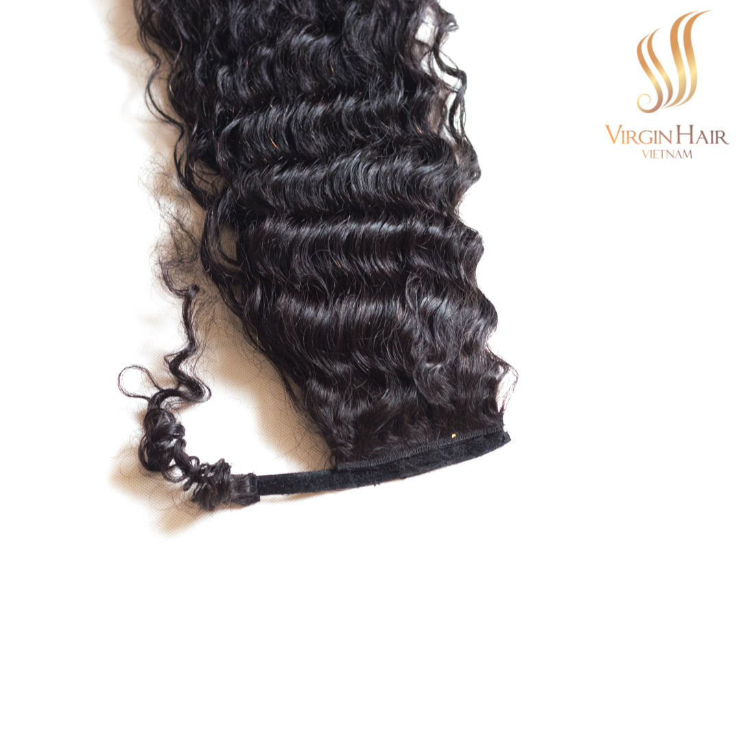 Customized product Ponytail 2020 natural colors black wavy human hair extensions from Vietnam