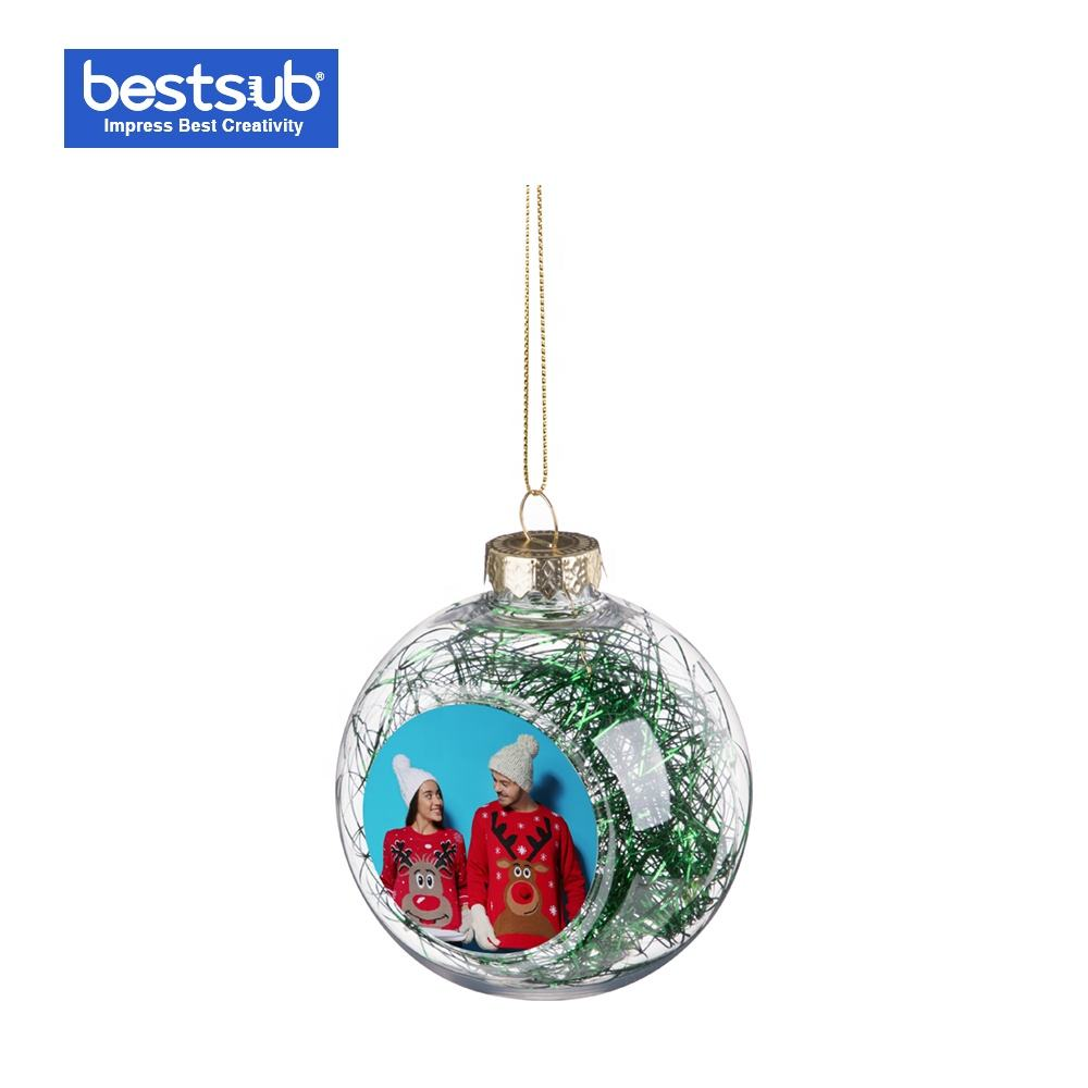 8cm Plastic Christmas Ball Ornament with Green String Clear SDC8-GR