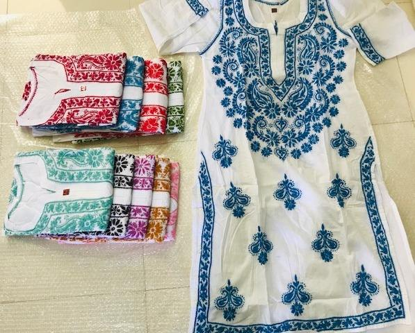 Summer wear White cotton Lucknow chikan hand embroidered Kurtis - Tops - Tunics- Wholesale Lucknow Embroidery Tops Tunics