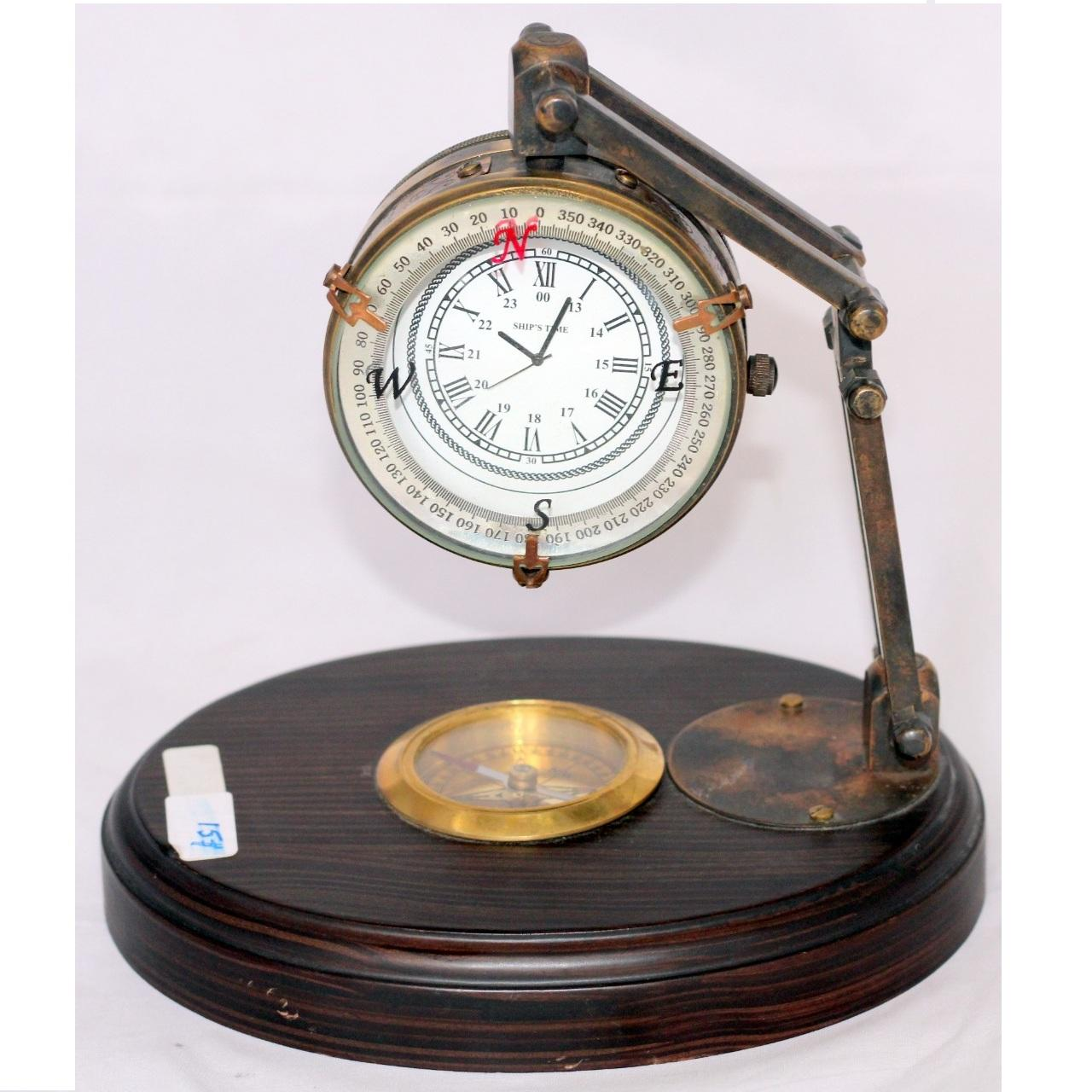 Wooden base with Attached Brass Compass And Clock Table top Handmade