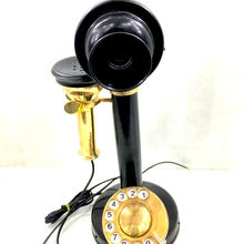 Vintage Antique Look Brass Polished Rotary Candlestick Phone Retro Desk Telephone Classy Old Design Rotary Dial  Phone Black