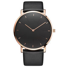 OEM Casual Fashion Minimalist Rose Gold Leather Band Japan Movt Minimal Style Watch For Men