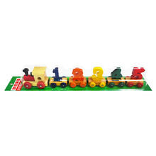 Kids math educational magnetic wooden train toy