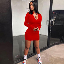 Casual Solid Color Women Long Sleeve Zip Up Bodycon Dresses Fashion 2020