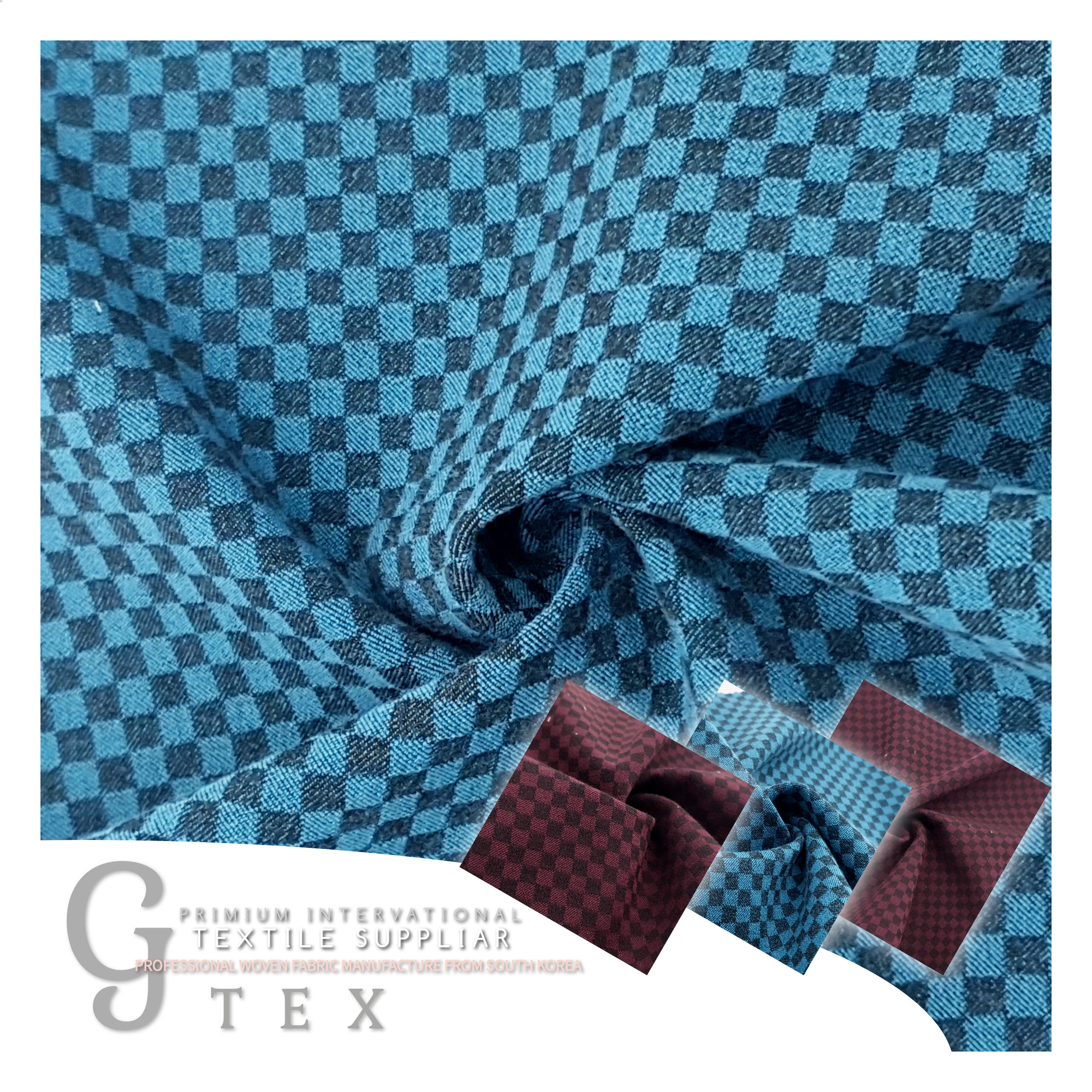 G TEX Made In Korea Premium Quality Woven YARN DYED Fabric POLY 61% RAYON 32% PU 7% For Women Dress, Skirt, Shirt, etc