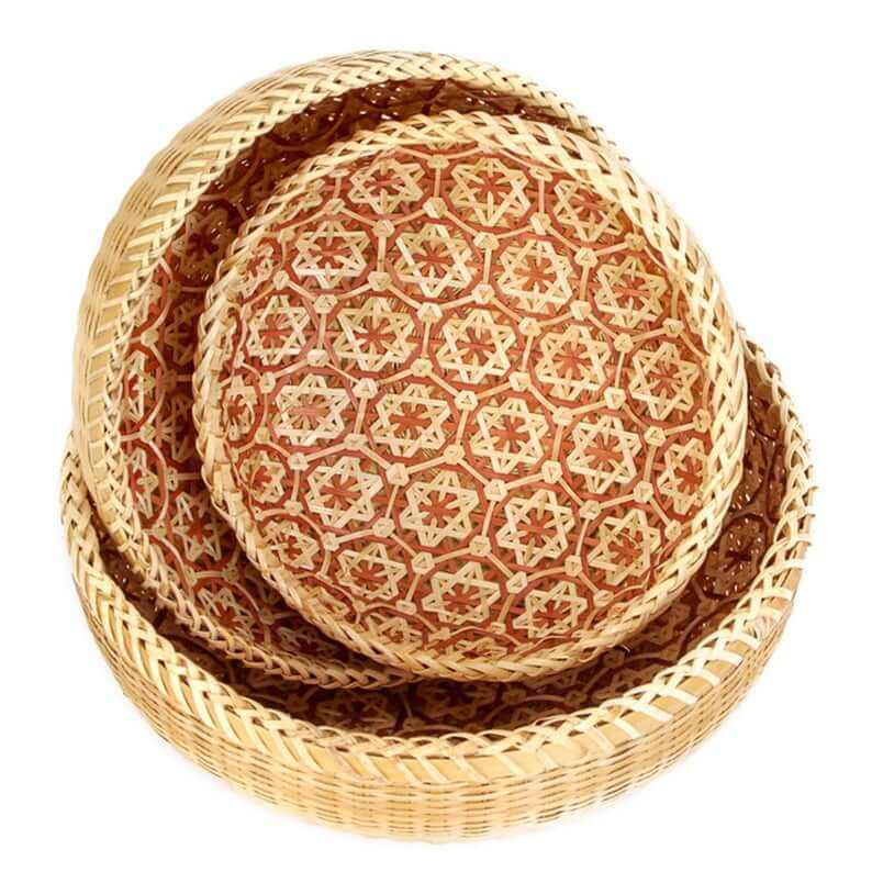 HANDITEX Round Bamboo Basket Fruit Bowl Burrito Corn Pone Plate Storage Basket Woven Picking Basket