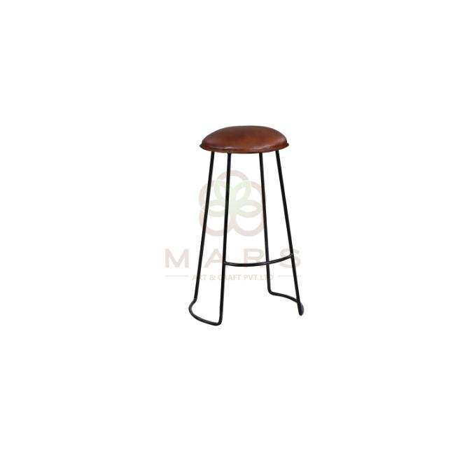 Industrial Vintage Tan Color Leather Seat Iron Leg Base Black Powder Coated Bar Stool