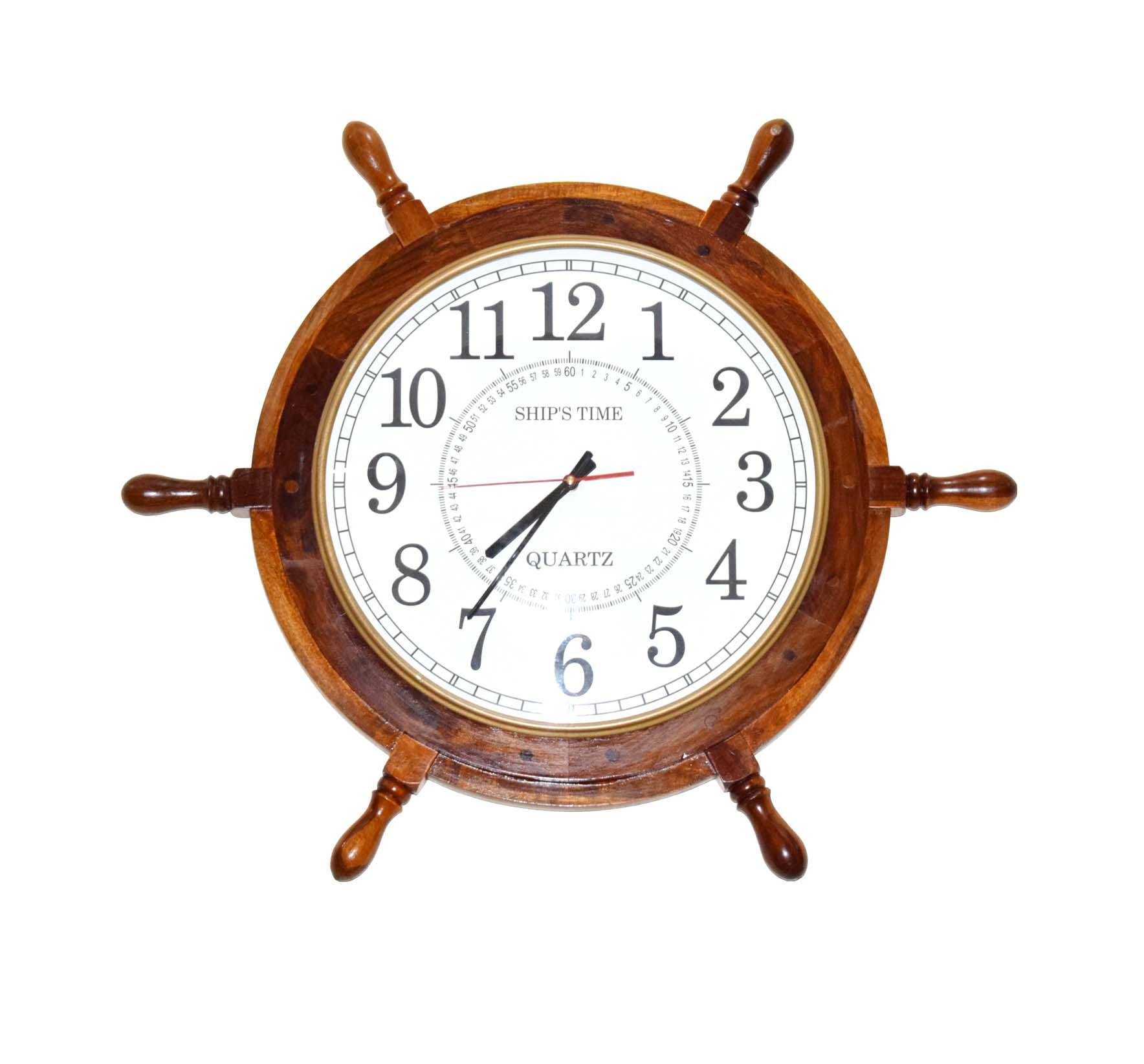 "24"" Large Ship Wheel Wooden Wall Clock Made Of High Quality Mango Wood Completely Finished product."