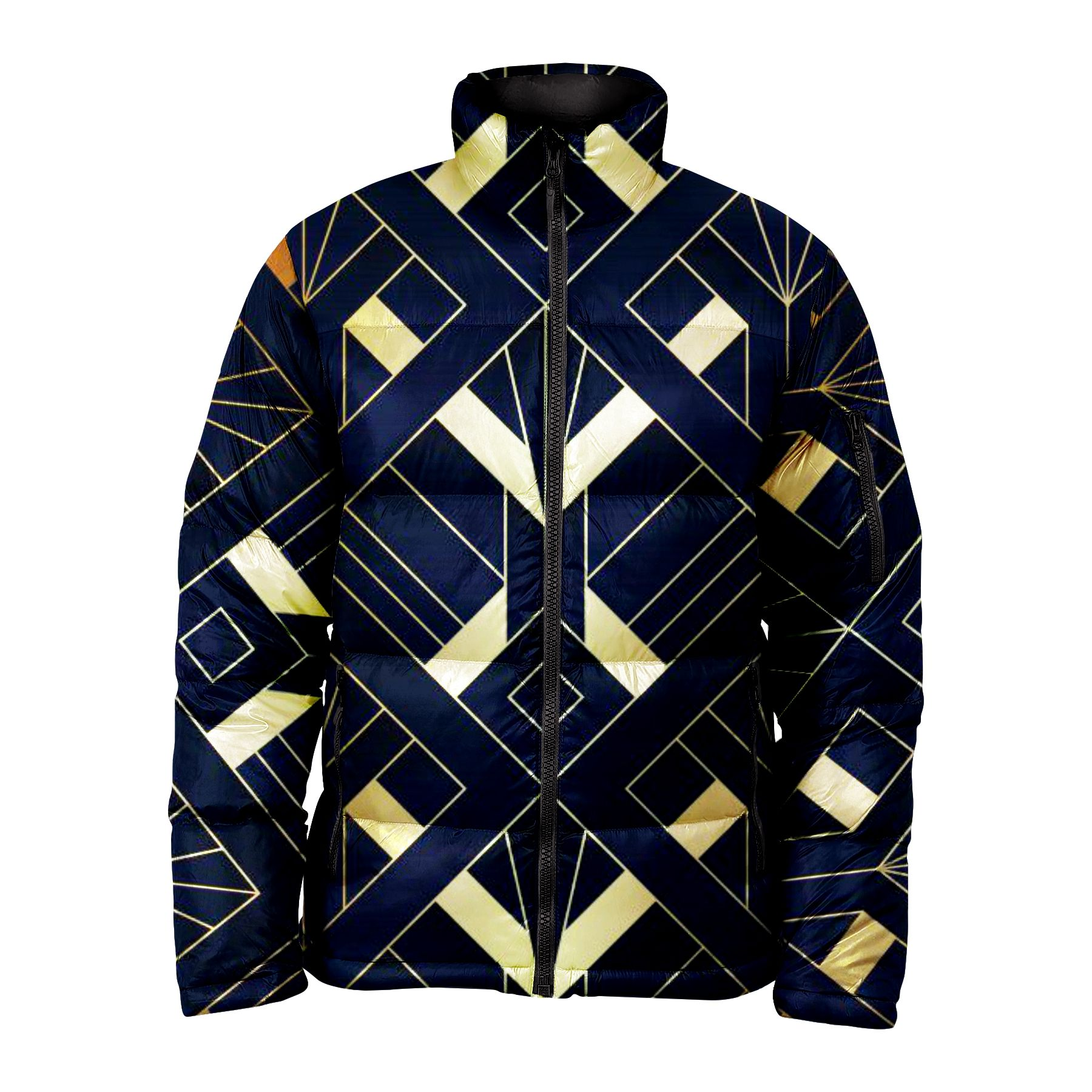 Best Value Abstract Art Deco Seamless Faded Pattern Printed Bubble Puffer Jacket For Women