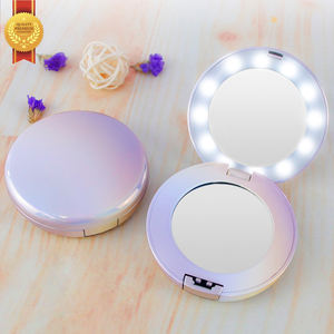 Cm23B Mini Lighted Led Light L Wholesale Metalsquare Cute Crystal Bling Heart Small Gold Custom Led Pocket Mirror