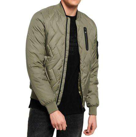 Mens Bomber Jacket Quilted Diamond Casual Loose Fit Light Full Zip Fall Winter Coat Outwear