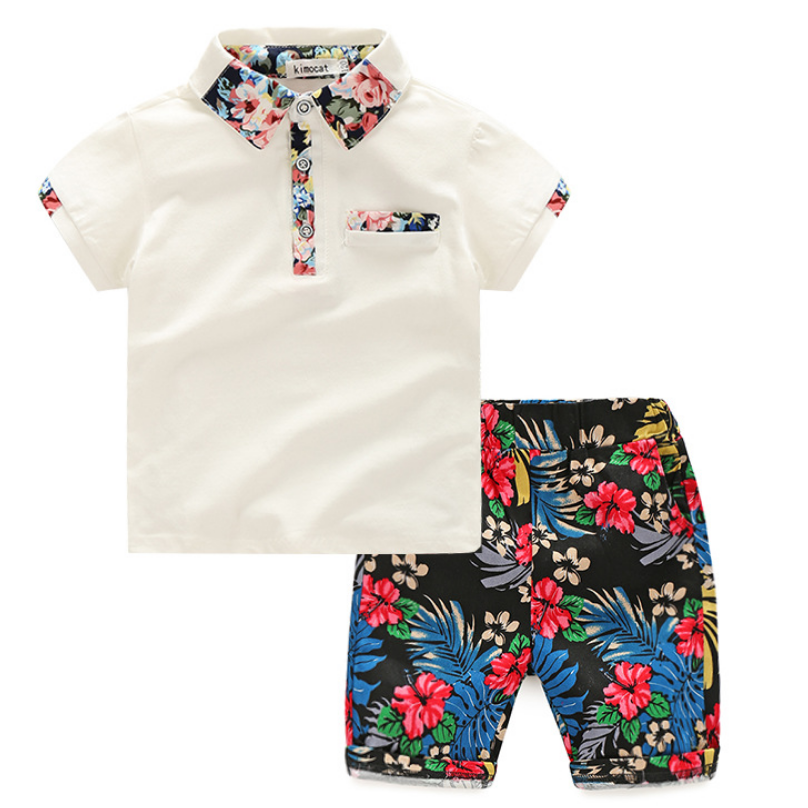 Fashion summer baby boy clothing sets floral short sleeve shirt+pants 2pcs outfits 2-6years cotton kids boy clothes sets