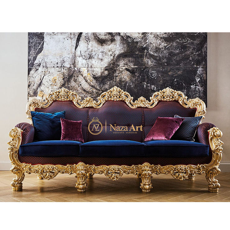 Luxury Sofa Hand Carved Solid Wood Upholstered Comfortable Sofa Furniture Sofa Living Room