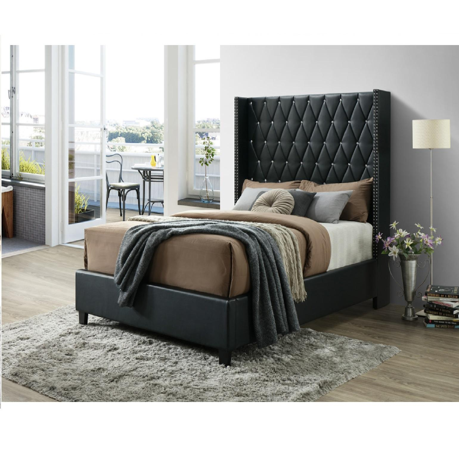 CONTEMPORARY HIGH ALEXIA BED WITH STUDDED WING