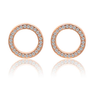 Wholesale Round Jewelry Sparkling Piercing CZ Pink Rose Gold Plated Circles Ear Post Stud Earring