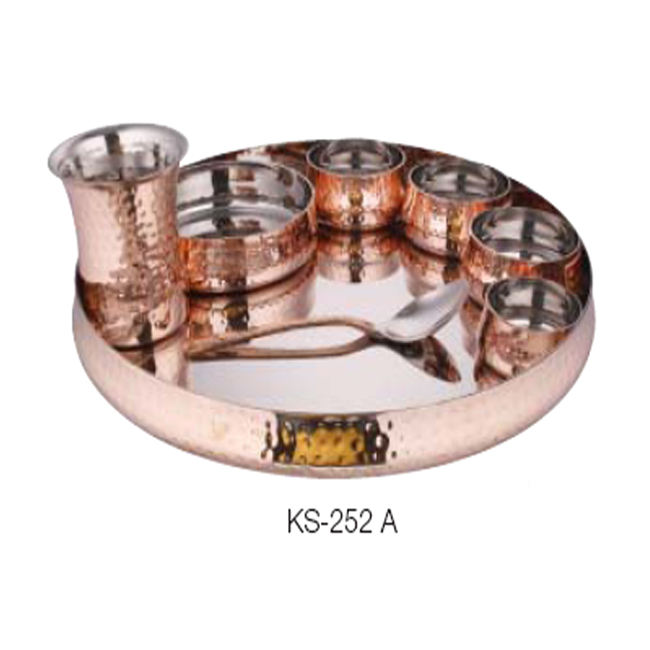 COPPER TABLEWARE SERVING SET / COPPER THALI SET / DINNERWARE SET