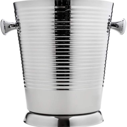 A La Mode ALM-555, 7-1/2'' x 9'' Double Wall Champagne Ice Bucket w/ Ribbed Surface, Elegant Barware Wine Bucket