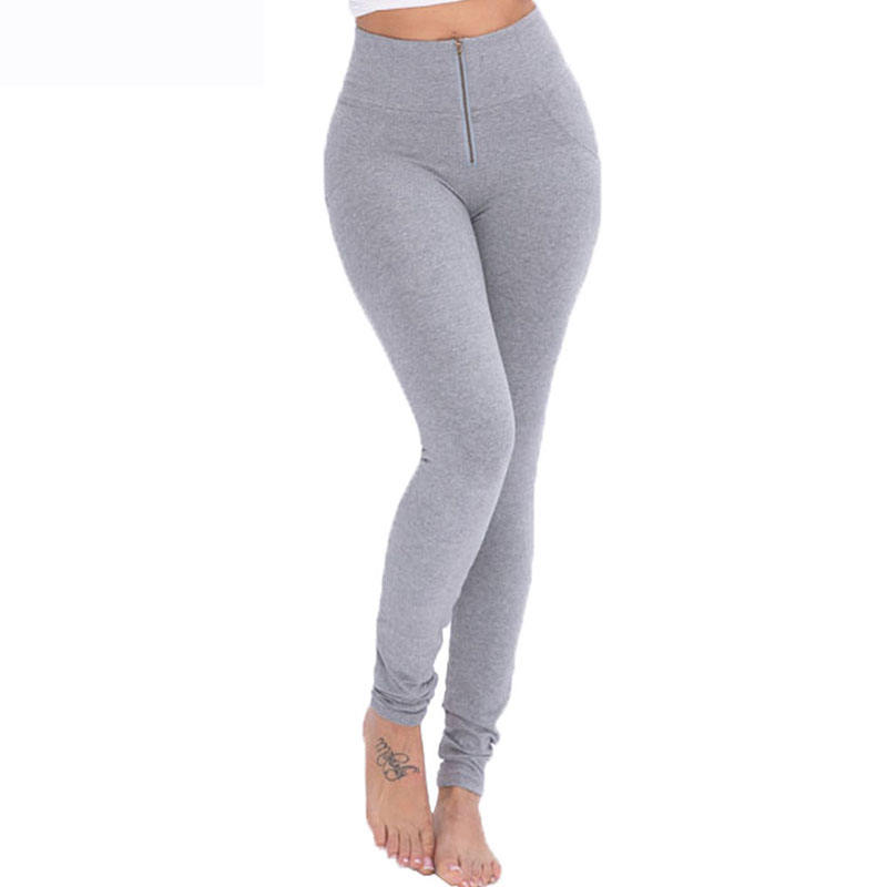 Sexy Butt Lift Up Super Stretch Leggings Vrouwen Grijs Rits Push Up Legging Slim-Fit Skinny Leggings Voor vrouwen