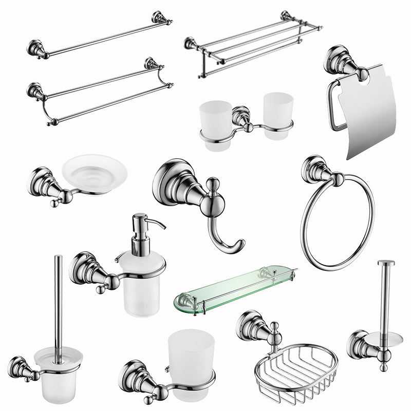 Hot selling zinc alloy chrome plated toilet sanitary ware bathroom set Carved pattern bathroom bathroom fittings