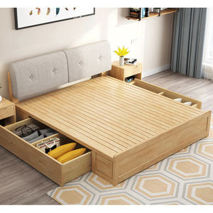 Solid Wood Nordic Style All Size Bedroom Sets Wooden Bed Box Storage Bed With Night Table Bedroom Furniture For Hotel