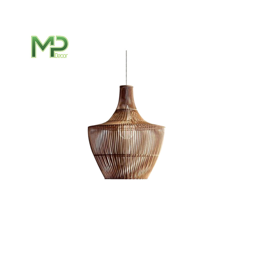 Wholesale handmade natural woven cage lantern light wicker bamboo rattan hanging pendant lamp shade For Pendant Lamp