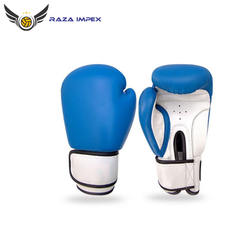 Custom Style White And Blue Leather Boxing Gloves For Fight