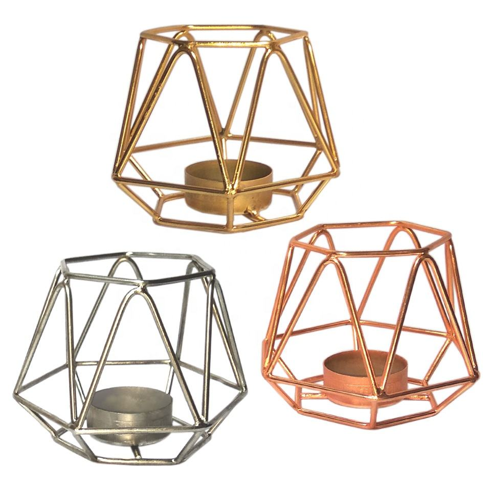 Geometric Metal Tea Light Candle Holders Modern European Design in Nickel Silver Gold Copper Finish