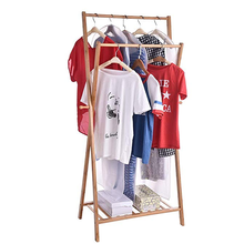Home easy assembly multifunctional soild wooden rack clothes double