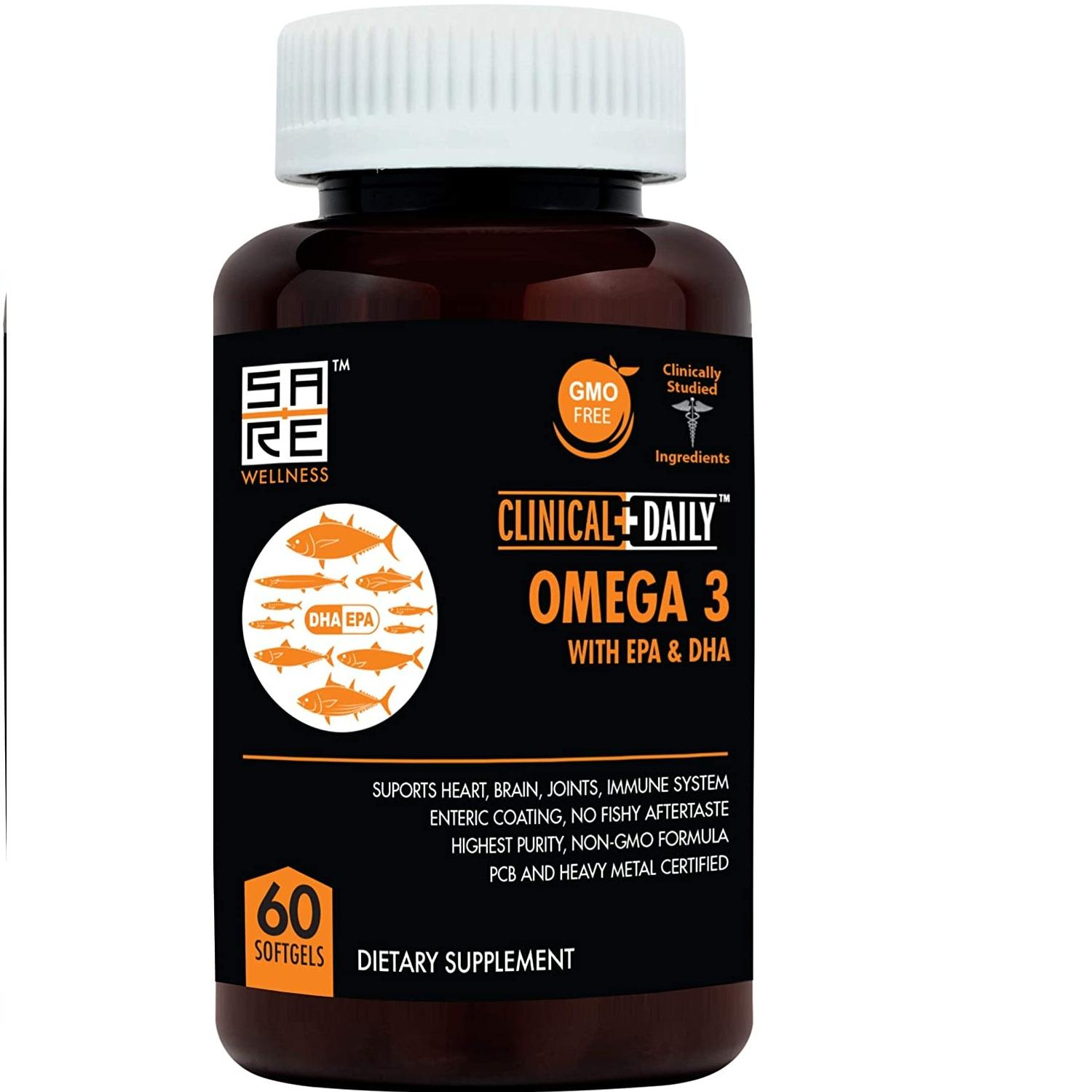 Pure Natural Fish Oil Omega 3 DHA EPA 1000 mg. Advanced Formula for Heart.60 Non GMO Softgel Capsules for Women and Men