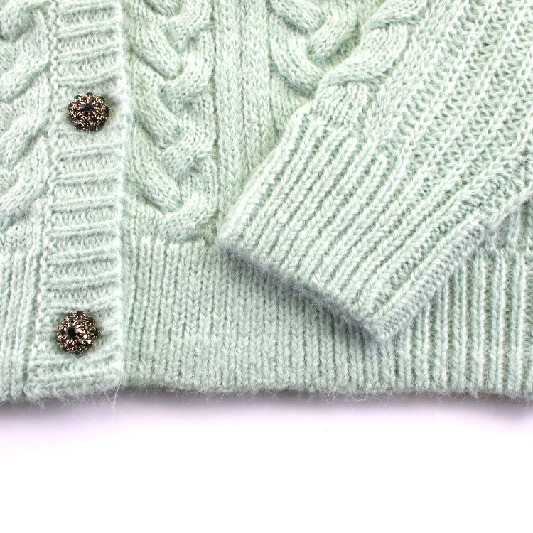 OEM Service Buttoned Light Green Cardigan Sweater