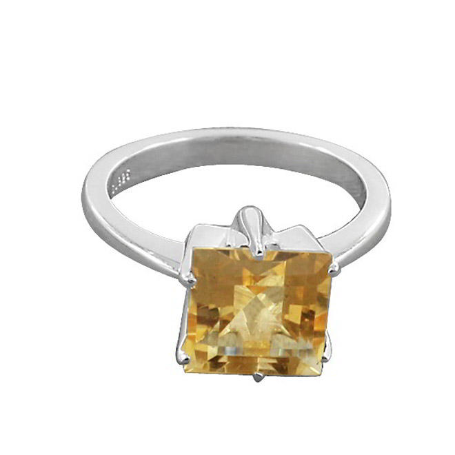 Shilpi Impex Natural Citrine Rough Prong Set 925 Sterling Silver Handmade Ring Jewelry