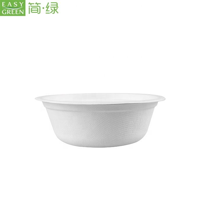 Easy Green Biodegradable Pulp 500ml Round Tableware Ramen Noodle Paper Takeaway Disposable Bowl With Lid