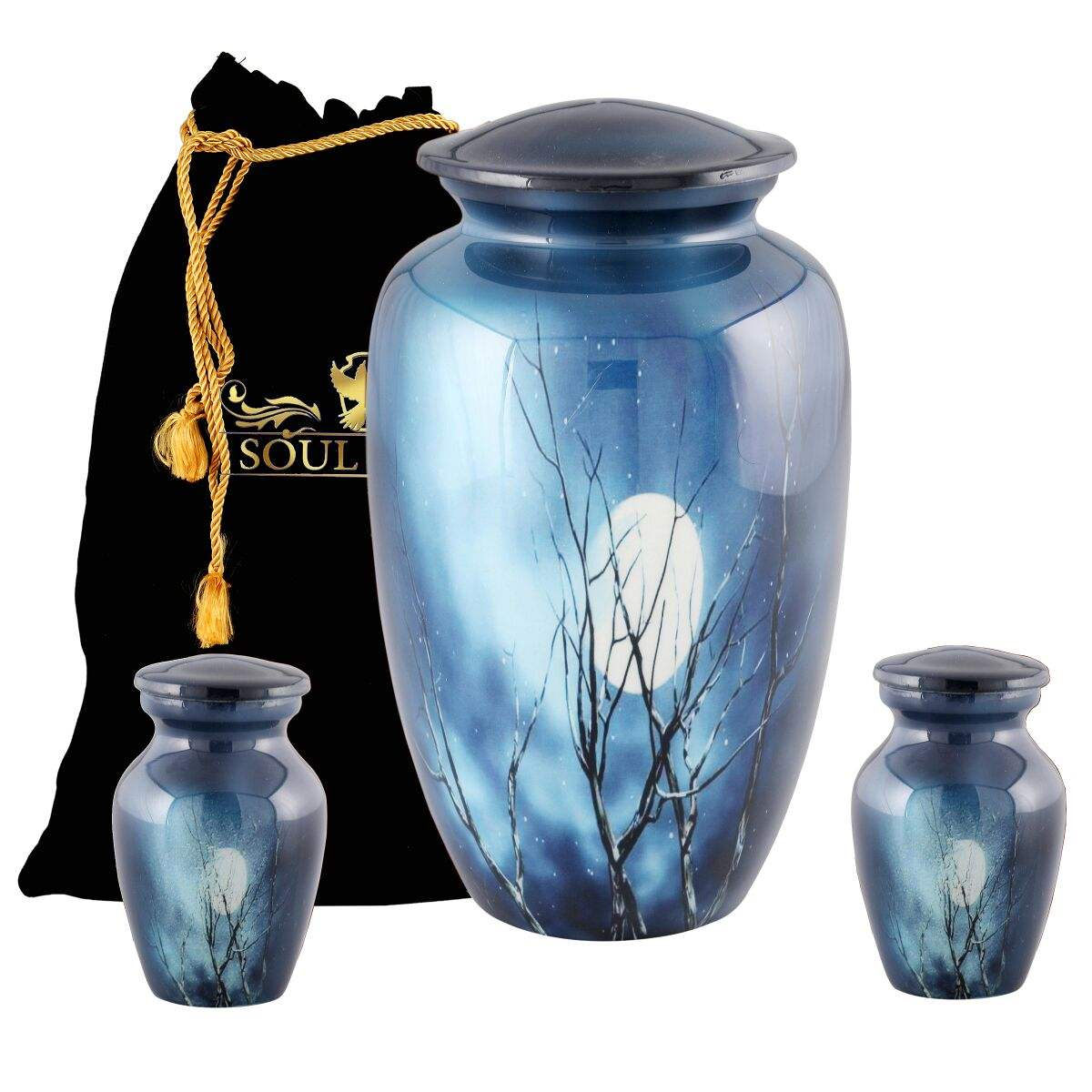 Blue Aluminium Cremation Funeral Urn for Human Ashes Fits for Adult