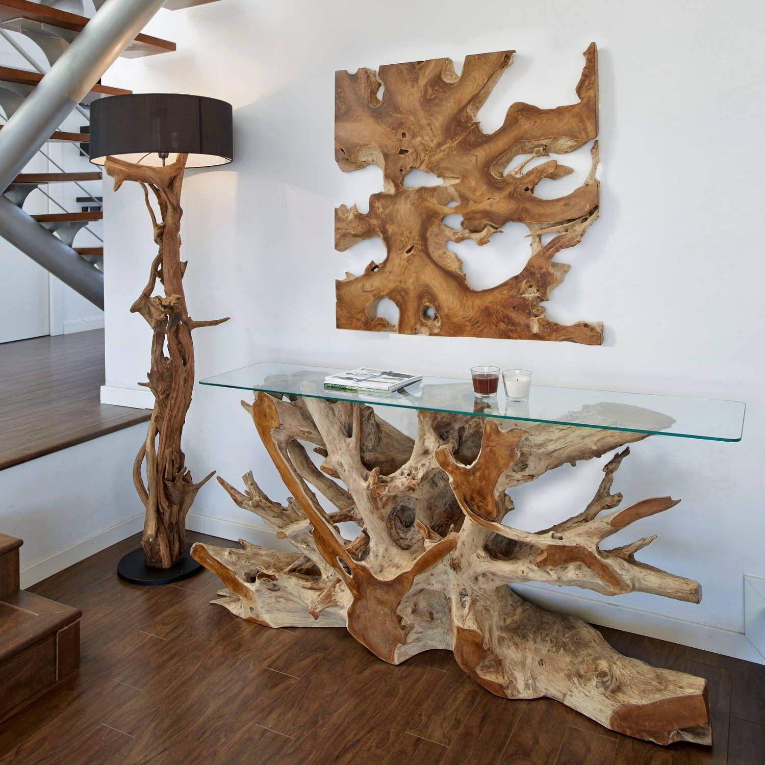 IN Stock teak wood root console and wall decor teak wood