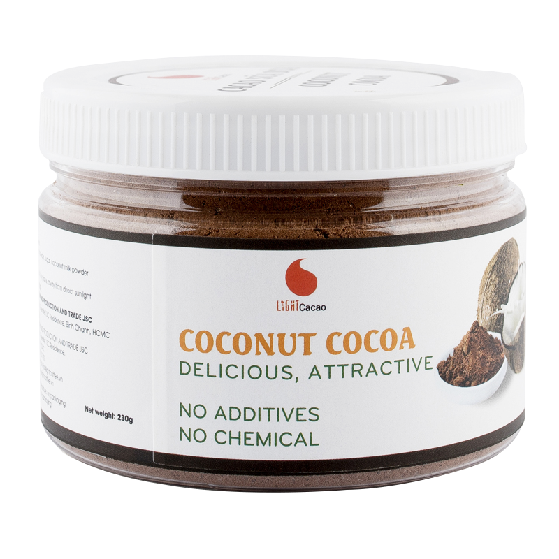 CACAO Coconut Jar 230g Best Cocoa Powder Natural 100% In Box Packaging From Vietnam